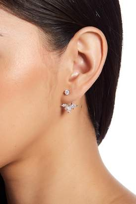 Shashi 18K White Gold Plated Sterling Silver Prong Set CZ Wing Jacket Earrings