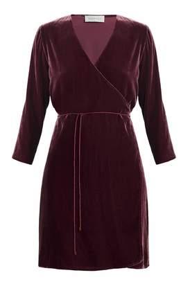UNDRESS - Darlene Aubergine Silk Velvet Wrap Dress