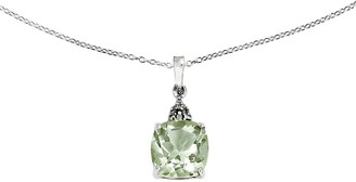 """Sterling Cushion-Cut Gemstone Pendant with 18""""Chain"""