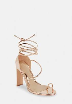 Missguided Rose Gold Strappy Toe Post Heeled Sandals