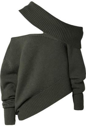 Monse Oversized Cutout Wool Sweater - Army green