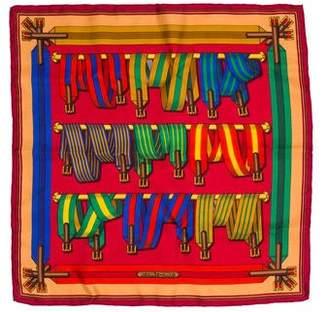 Hermes Les Sangles Silk Pocket Square