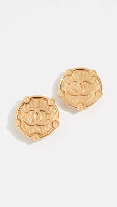 Chanel What Goes Around Comes Around CC Round Border Earrings