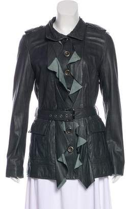 Diane von Furstenberg Ruffled Leather Jacket