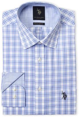 U.S. Polo Assn. Blue Triple Windowpane Regular Fit Dress Shirt