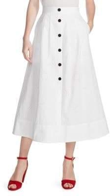 Maje Jupali Button-Front Midi Skirt