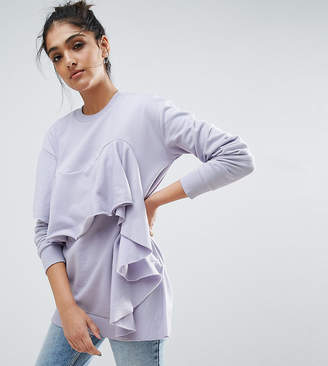 Asos Tall TALL Sweatshirt With Ruffle Detail