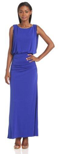 Laundry by Shelli Segal Women's Beaded Blouson Jersey Gown, Twilight Blue, 0