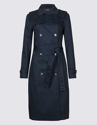 M&S Collection Pure Cotton Longline Trench with StormwearTM