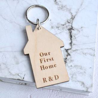 Sweet Pea Design Personalised First Home House Keyring