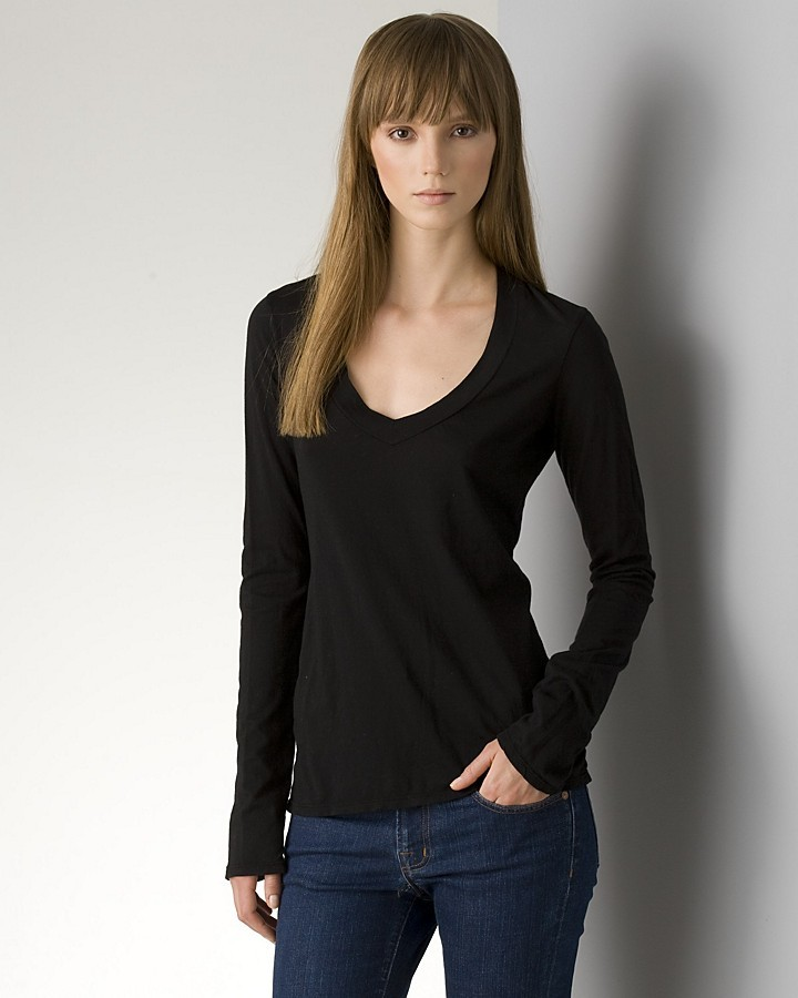 James Perse Long Sleeve V-Neck Tee