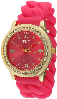 JCPenney TKO ORLOGI Womens Crystal-Accent Chain-Link Pink Silicone Strap Stretch Watch