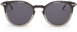 Bottega Veneta Intrecciato Engraved Round Acetate Sunglasses - Mens - Grey