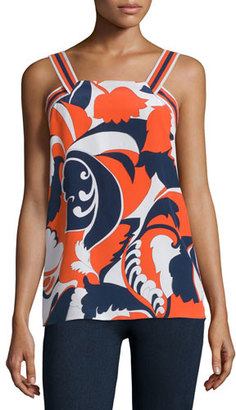 Trina Turk Sleeveless Floral-Print Top, Coral $228 thestylecure.com