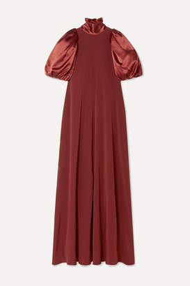 Co Satin And Crepe Maxi Dress - Burgundy