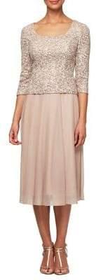Alex Evenings Embellished Stretch Tulle Skirt Dress
