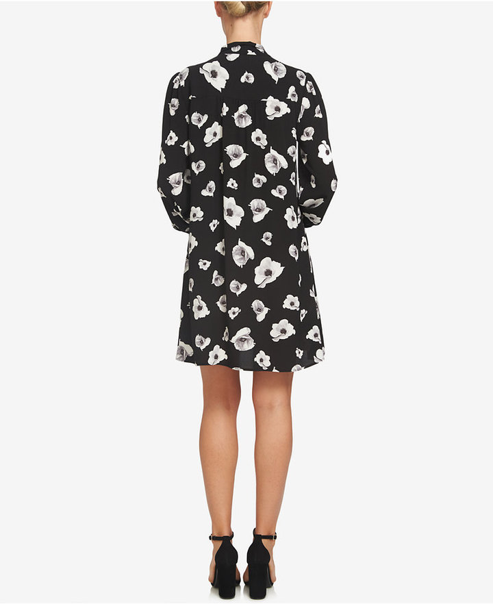 CeCe Printed Tie-Neck Shift Dress 2