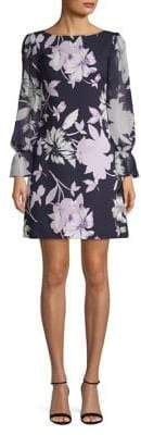 Vince Camuto Floral Jersey Chiffon Sleeve Dress