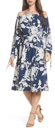 Maggy London Print Jersey Off the Shoulder Blouson Dress