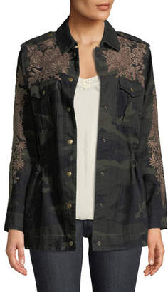 Johnny Was Miloqui Camo-Print Floral-Embroidered Jacket, Plus Size
