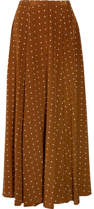 Diane von Furstenberg - Polka-dot Washed-silk Maxi Skirt - Brown $500 thestylecure.com