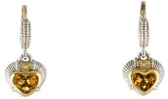 Judith Ripka Two-Tone Diamond & Citrine Heart Earrings