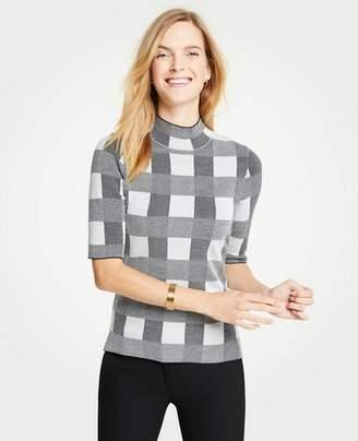 Ann Taylor Plaid Mock Neck Elbow Sleeve Sweater