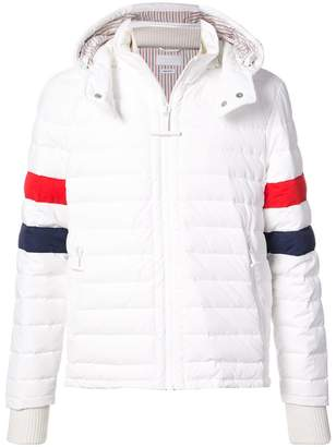 Thom Browne Downfilled Ski Jacket With Red, White And Blue Sleeve & Detachable Hood In Matte Nylon Poplin
