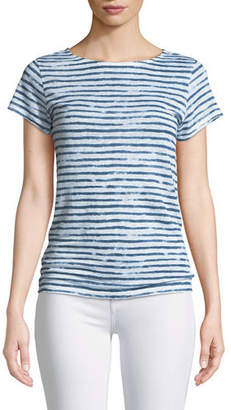 Neiman Marcus Majestic Paris for Striped Linen Button-Back Tee