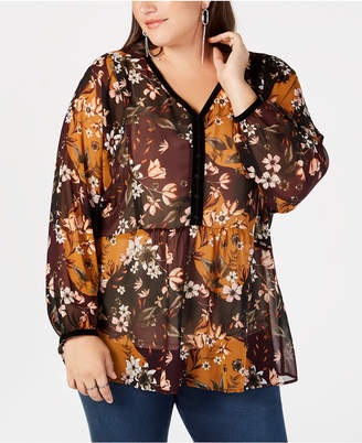 Style&Co. Style & Co Plus Size Printed Sheer Blouse