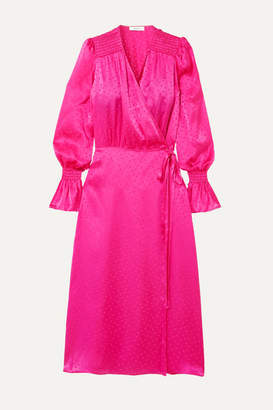 Art Dealer - Diane Shirred Polka-dot Silk-jacquard Wrap Dress - Pink