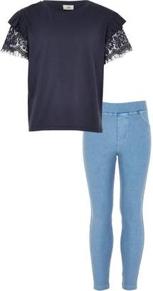 River Island Girls Navy lace T-shirt and leggings outfit