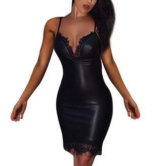 9a679ad1202f0 PENATE Women Dresses PENATE Women Sexy Strap Deep V-Neck Leather Split  Party Lace Bodycon