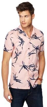 Red Herring Pink Linen Blend Slim Fit Shirt