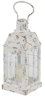 DecMode Decmode Rustic 14 X 7 Inch Distressed White Iron And Glass Window Candle Lantern