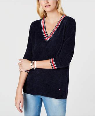 Tommy Hilfiger Chenille V-Neck Logo Sweater