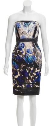 Lanvin Printed Strapless Dress