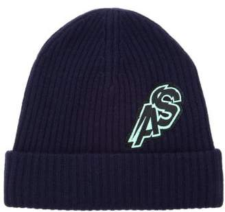 Acne Studios Koen Logo Embroidered Wool Blend Beanie Hat - Mens - Navy