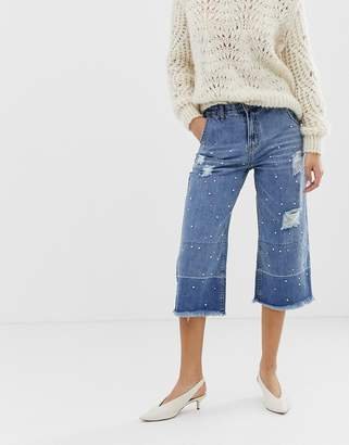 Current Air Wide Leg Cropped Jean with Unravelled Hems and Pearl Embellishment