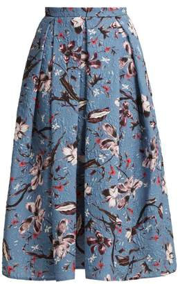 Erdem Ina Tulip Dream Print Cloque Midi Skirt - Womens - Blue Multi