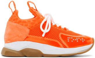 Versace Orange Cross Chainer Sneakers