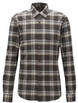 BOSS Hugo 'Lalo' Regular Fit, Plaid Cotton Button Down Shirt XL Beige