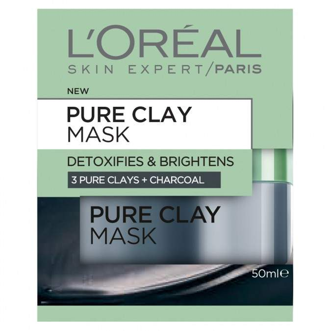 L'oréal Paris Pure Clay Mask: Detoxifying & Brightening Charcoal Mask 50 mL