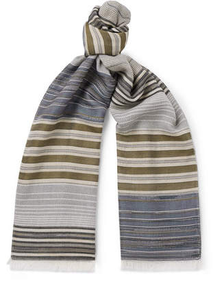 Missoni Fringed Striped Cotton and Silk-Blend Scarf - Men - Blue