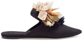 SANAYI 313 Iris shell and tassel-embellished slipper shoes
