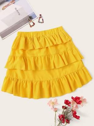 Shein Elastic Waist Layered Ruffle Hem Skirt