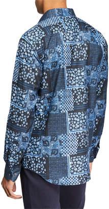 Bugatchi Men's Patchwork-Print Woven Sport Shirt