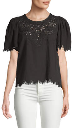 Rebecca Taylor Embroidered Eyelet Top