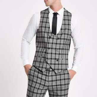 River Island Mens Grey check double-breasted vest