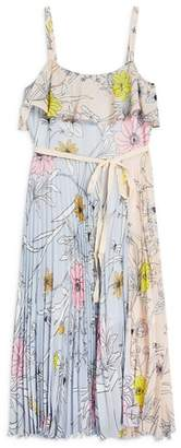 Topshop Pastel Pleated Midi Dress